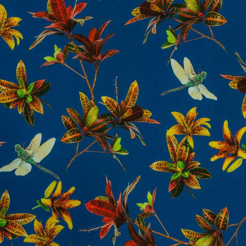 Jersey bleu mer motif fleur jaune