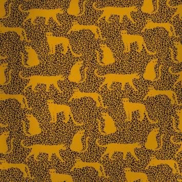 Jersey french terry ocre jaune imprimé léopard noir envers molleton