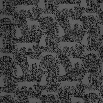 Jersey french terry gris imprimé léopard noir envers molleton