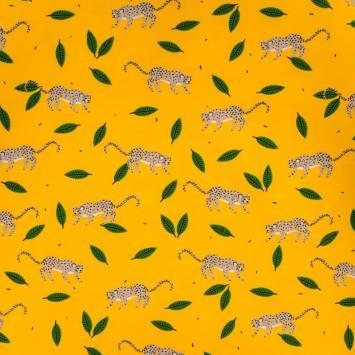 Jersey jaune motif feuille et léopard