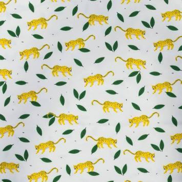 Jersey écru motif feuille et léopard