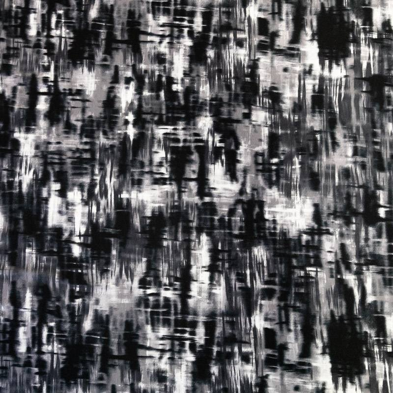 Jersey viscose écru imprimé abstrait gris