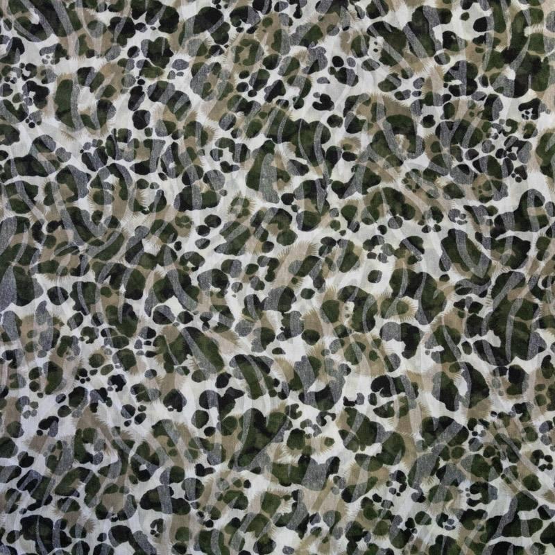 Jersey léger écru effet léopard kaki