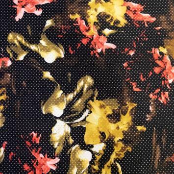 Tissu scuba perforé noir punch multicolor