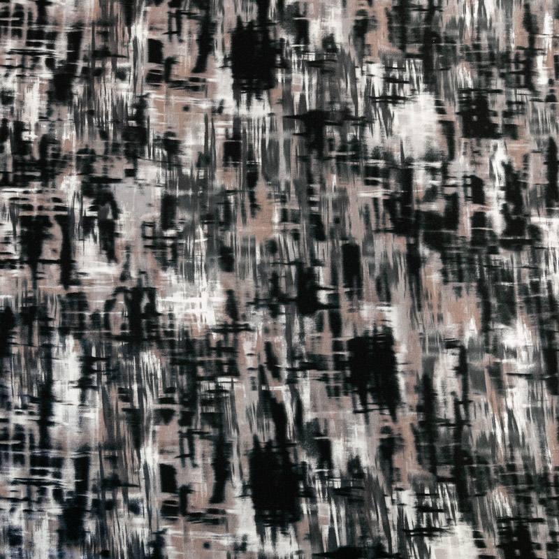 Jersey viscose écru imprimé abstrait taupe