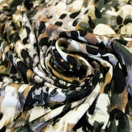 Jersey viscose écru motif noir et kaki