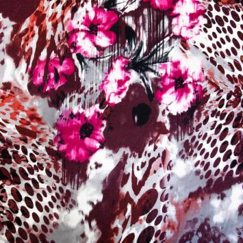 Jersey viscose écru imprimé fleur fushia