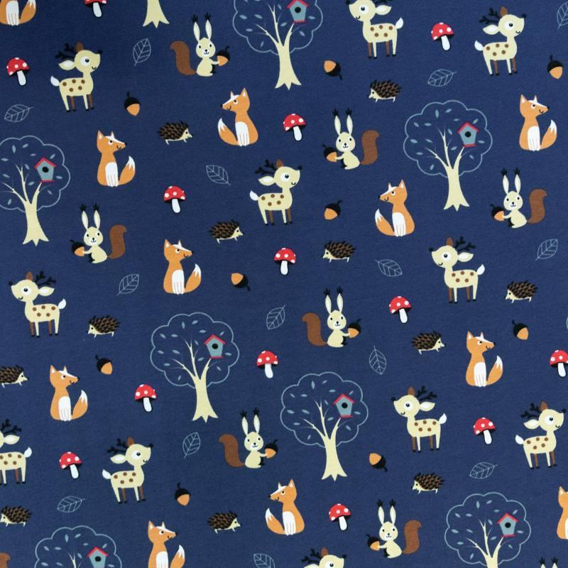 Jersey bleu foncé motif animaux beige
