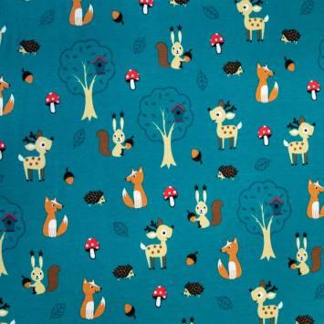 Jersey bleu vert motif animaux beige
