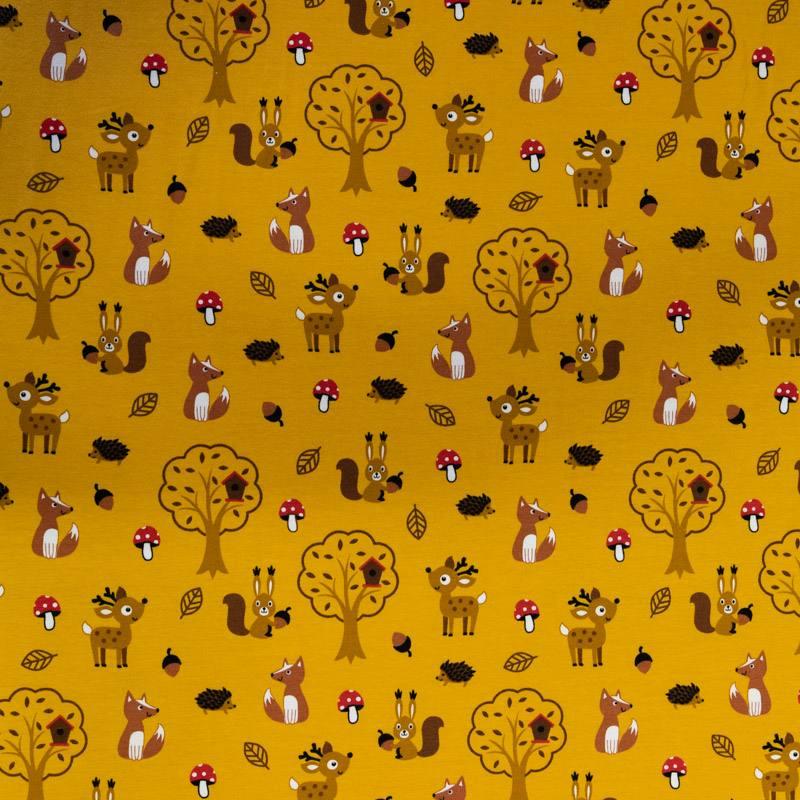 Jersey ocre motif animaux marron