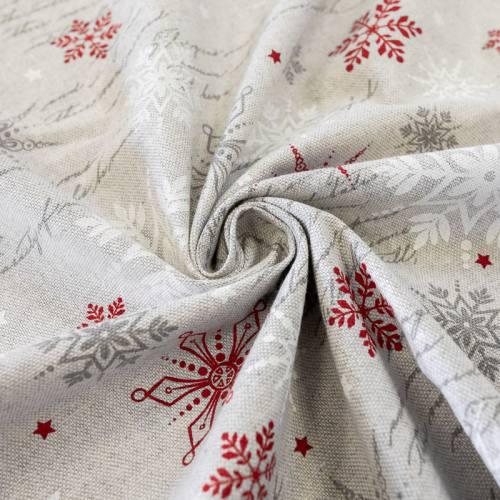 Toile coton grise chinée imprimée écritures et flocons rouges et blancs