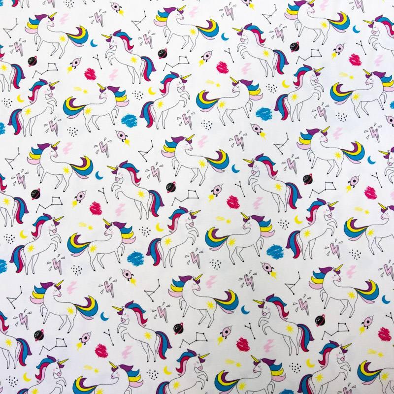 Jersey crème motif licorne et galaxie
