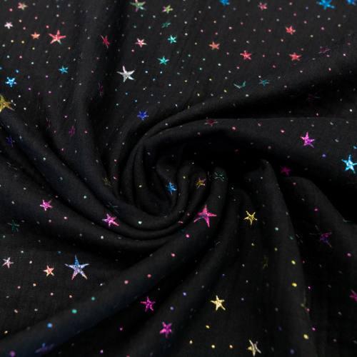 Double gaze noire étoiles multicolores brillantes