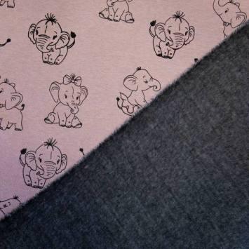 Tissu molleton rose motif éléphant envers polaire