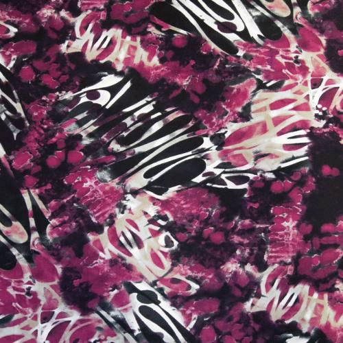Tissu scuba crêpe fushia imprimé abstrait