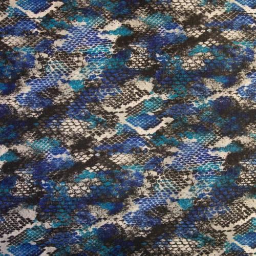 Lainage fin écru motif snake anna bleu et noir
