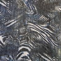 Lainage fin noir motif dora bleu et gris