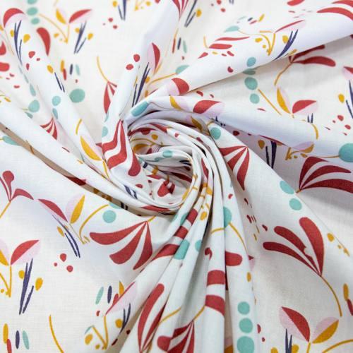Coton blanc motif howell bordeaux