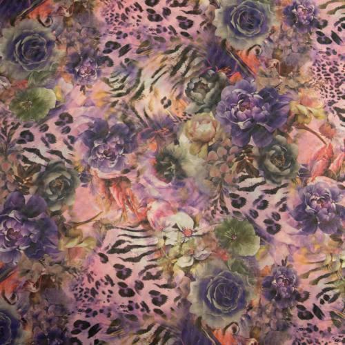 Résille extensible rose motif jungle violet