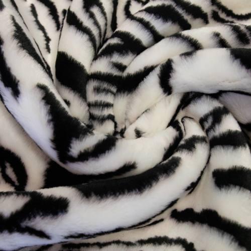 Fausse fourrure tigrée noire et blanche