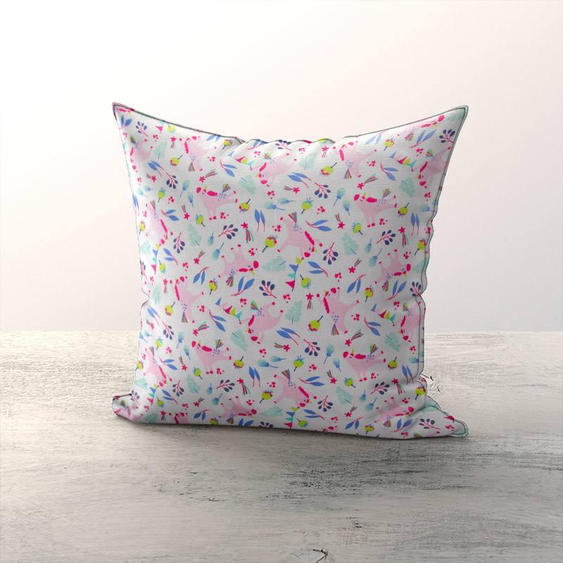 Coton blanc motif licorne rose