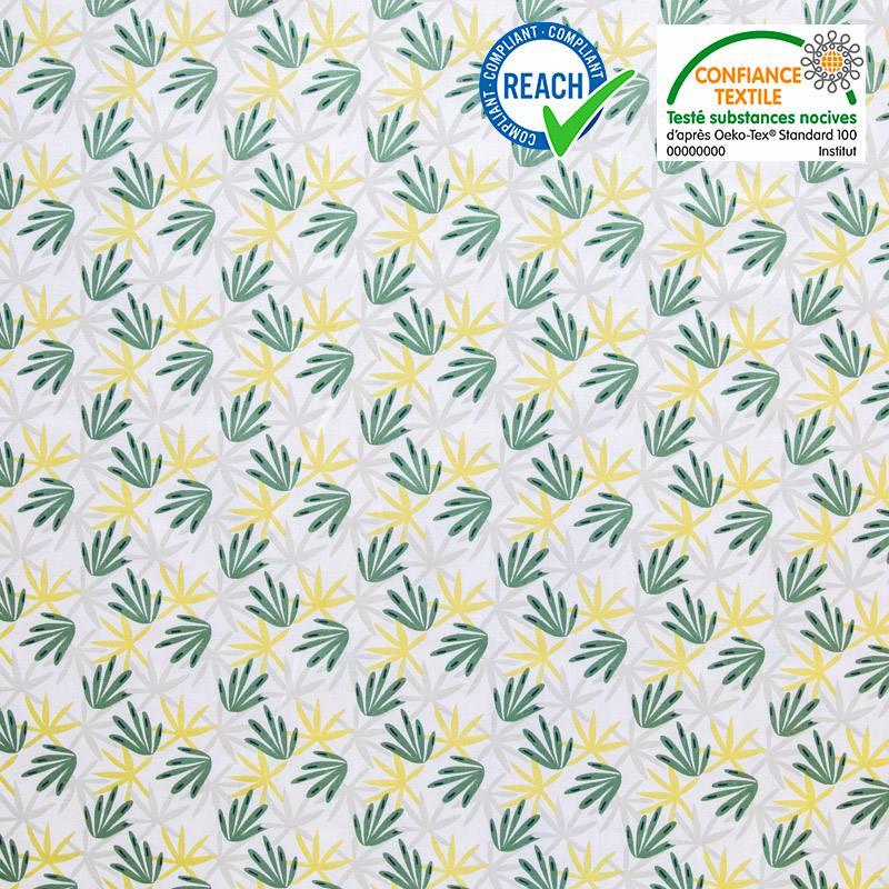 Coton blanc motif algao vert