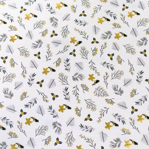 Popeline de coton blanc motif brillant noël or