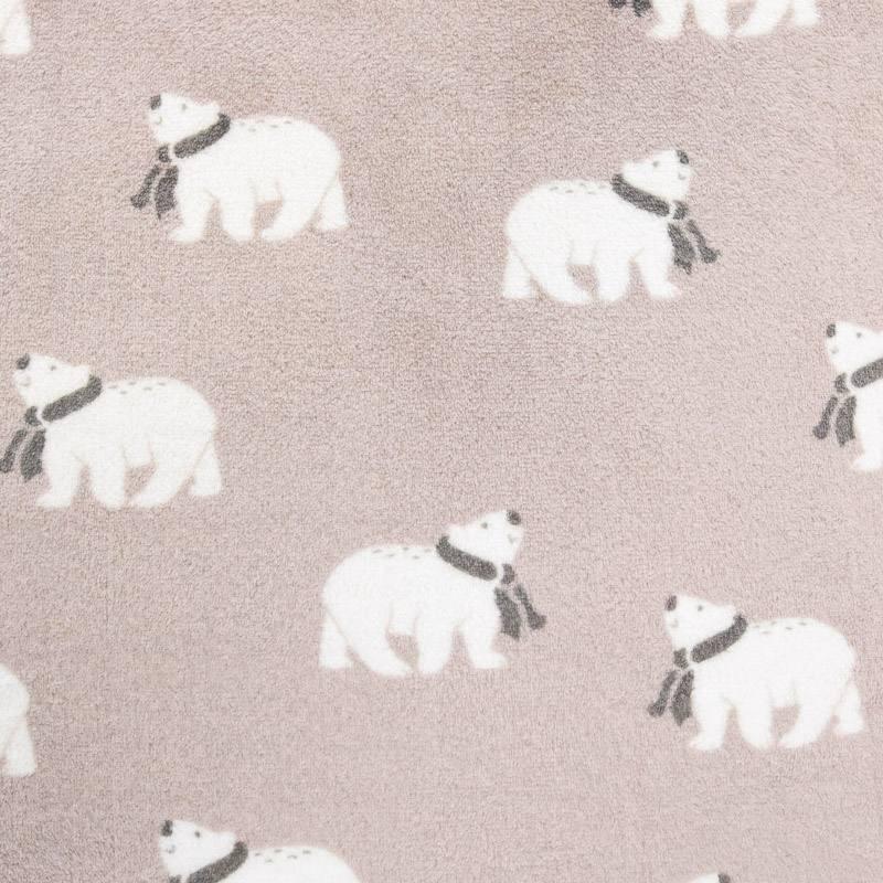 Polaire réversible grège imprimée ours polaire et rayures