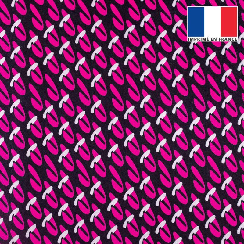 Velours ras noir motif duo de formes abstraites roses et grises