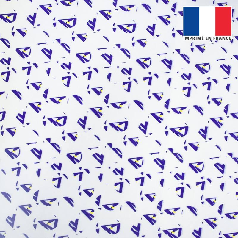 Velours ras écru motif forme géométrique triangulaire bleue et jaune