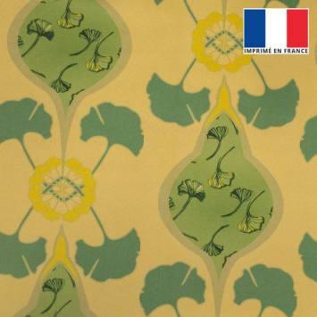 Velours ras beige imprimé grand ginkgo vert tilleul