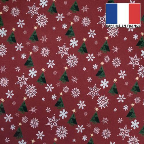 Velours ras rouge imprimé Noël sapin et flocons