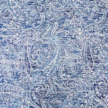 Lainage fin extensible motif gauss bleu