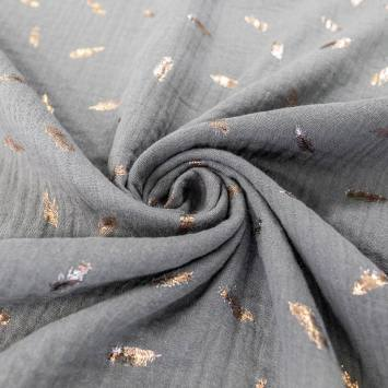 Double gaze gris motif feuille brillant