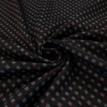 Punto milano gris motif à carreaux noir et bordeaux