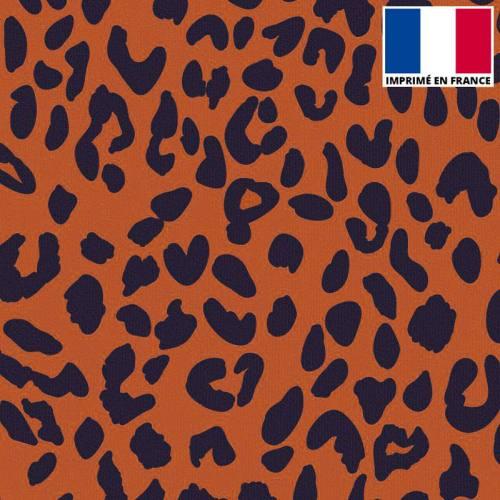 Velours imprimé léopard orange