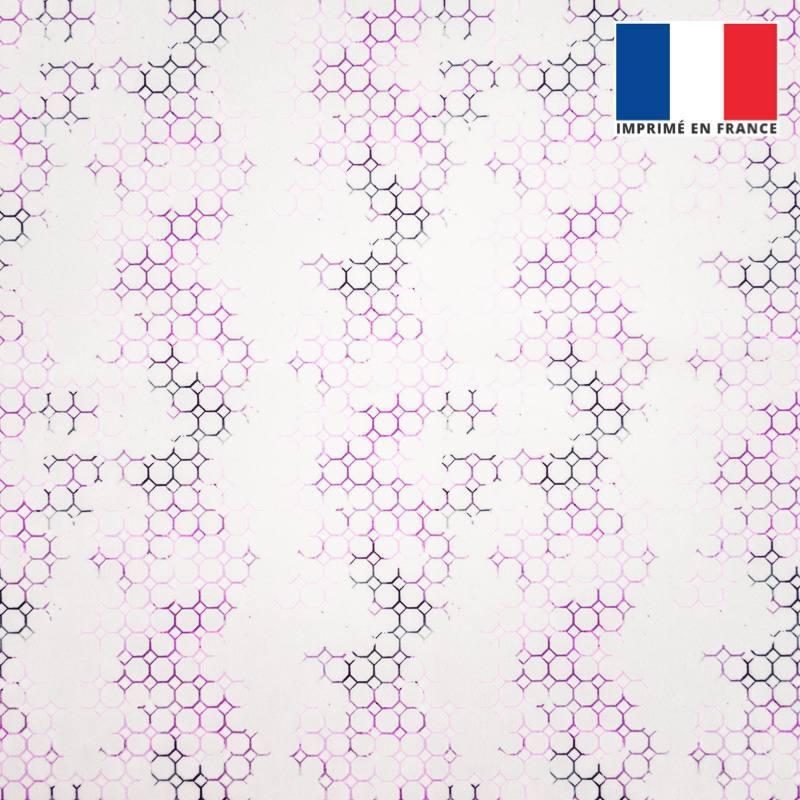 Velours ras écru imprimé alvéole violette