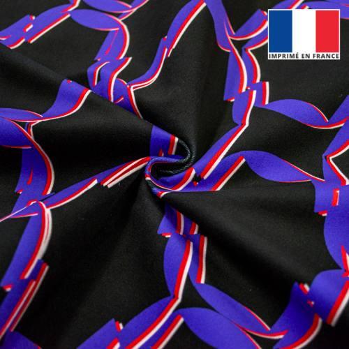 Velours ras noir motif grands cercles anguleux bleu rouge et blanc