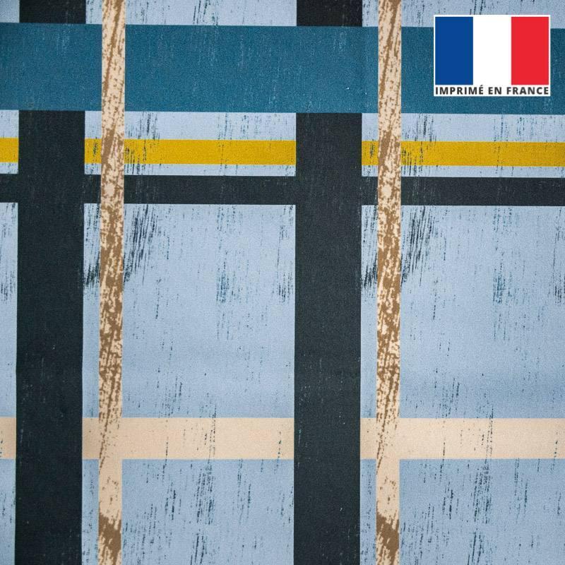 Velours ras effet bois bleu gris et beige
