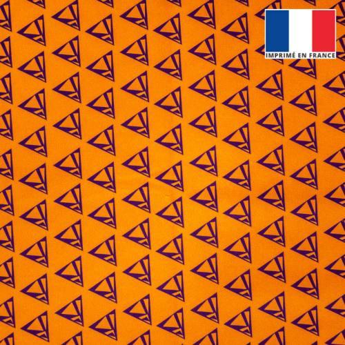 Velours orange imprimé triangle violet