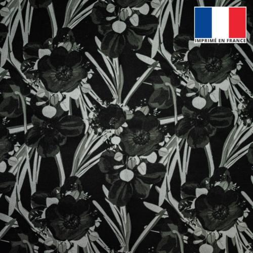 Velours ras noir imprimé fleur noire et grise