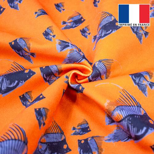 Velours ras orange imprimé poisson bleu