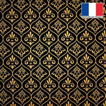 Velours ras noir motif ornements baroques jaune or