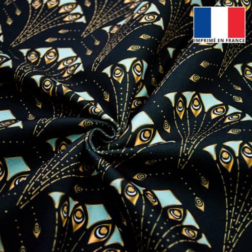 Velours ras noir motif plume de paon art déco or et vert pastel