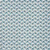 Coton blanc imprimé fleur ocre et bleu canard guniko
