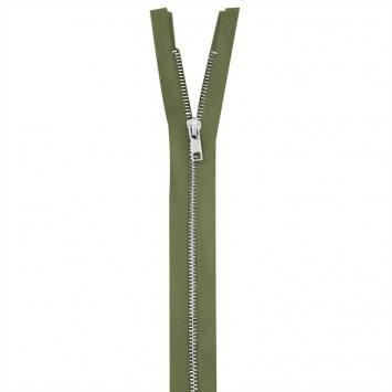 Fermeture vert kaki en métal argent 55 cm col 999