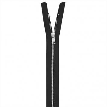Fermeture noire en métal argent 70 cm col 580