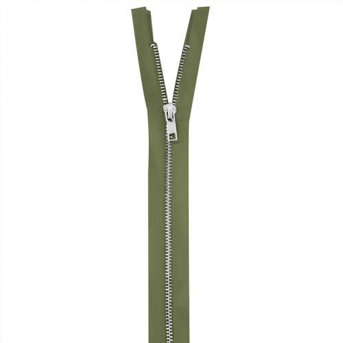 Fermeture vert militaire en métal argent 80 cm col 999