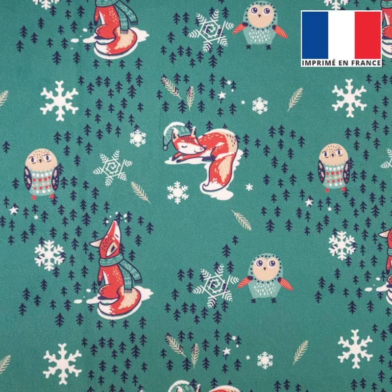 Imprimé Polyester Coton Tissu-Noël Flocon de neige vert