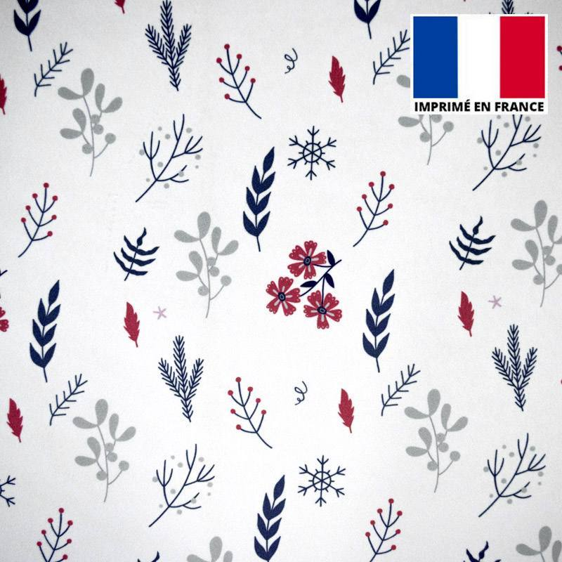 Velours ras écru imprimé fleurs d'hiver